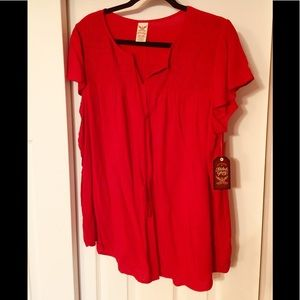 NWT Red Peasant Top - Size XXL (20)
